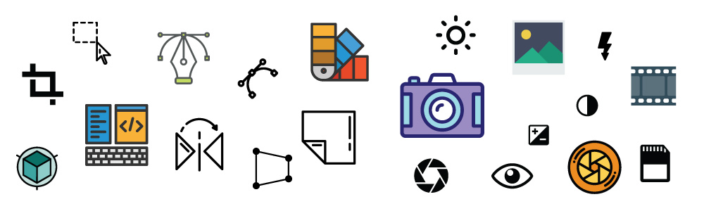 graphic design & photography icons